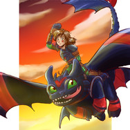 Female Hiccup and Toothless - fanart HTTYD2