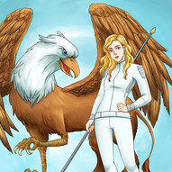 Isolda Kross and her griffin