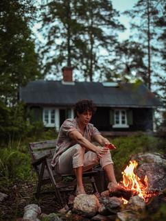 Luca at campfire
