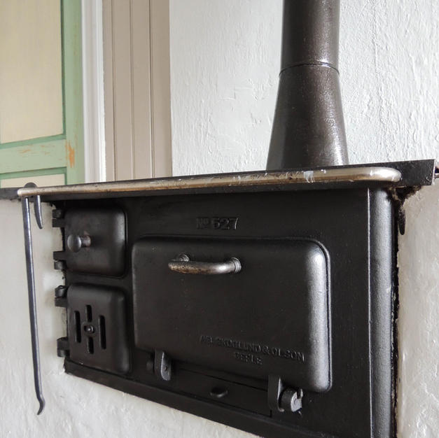 Woodstove in kitchen