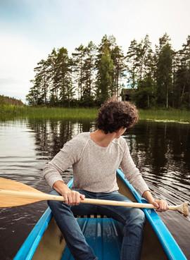 Luca in canoe