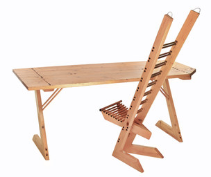 """desconstruction"" desk and chair"