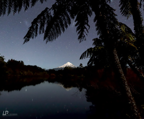 Taranaki Maunga under Moonlight from Lake Mangamahoe