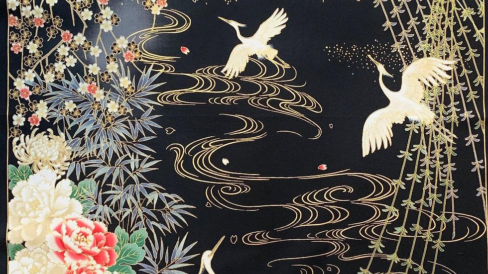 Moonlight Cranes fabric panel