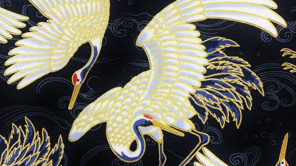 Cranes and Waves fabric (black)