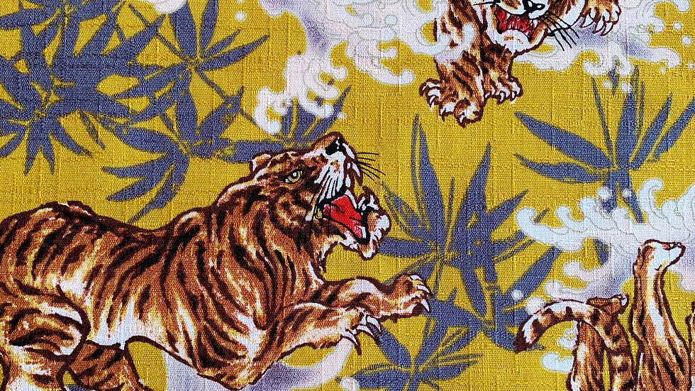 Tigers and Waves fabric (yellow)