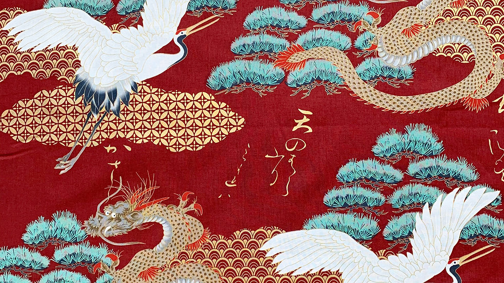 Cranes and Dragons fabric (red)