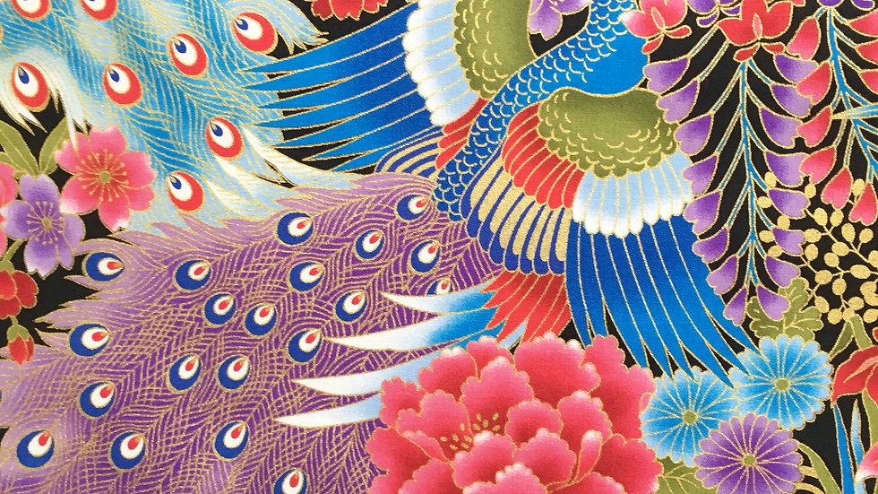 Japanese Peacocks fabric - blue