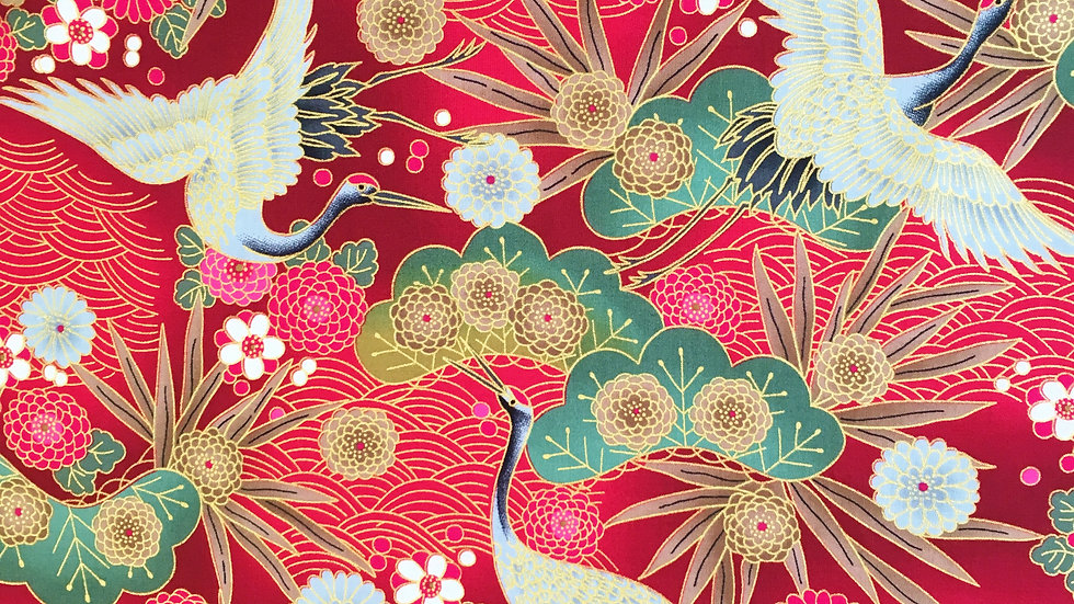 Japanese Cranes fabric - red