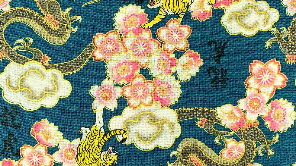 Dragons and Tigers fabric (teal)