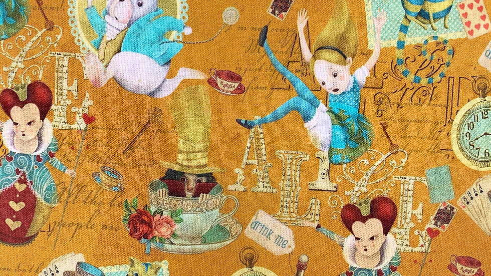 Alice in Wonderland fabric (ochre)