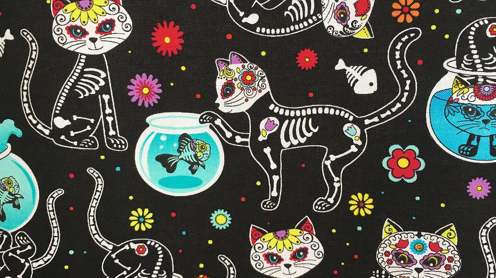 Sugar Skulls Cats fabric