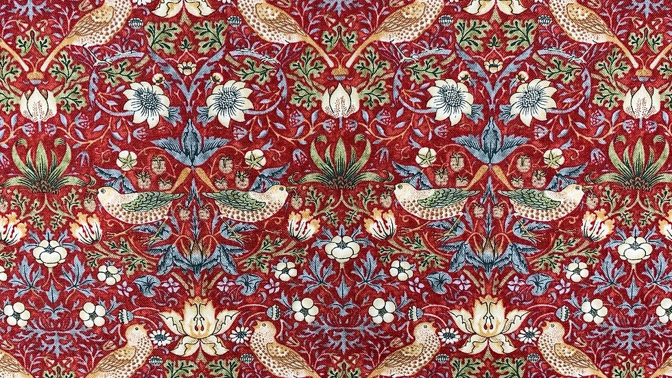 William Morris fabric - Strawberry Thief mini  (red, aqua, navy)