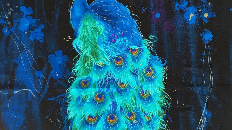 Peacock fabric panel