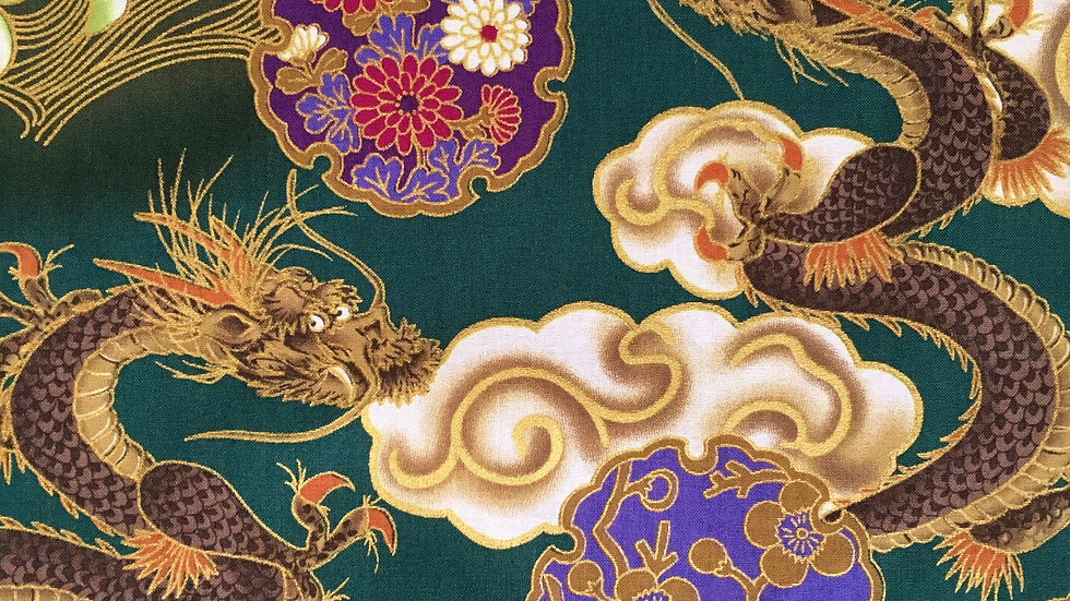 Japanese Dragons fabric (teal)