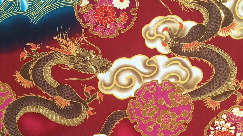 Japanese Dragons fabric (red)