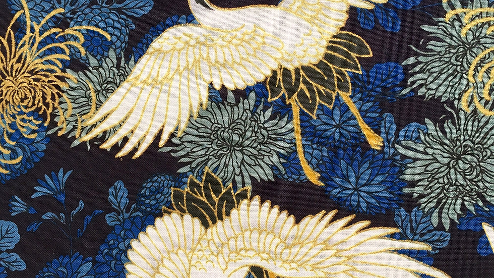 Cranes and Chrysthanthemum fabric (blue)