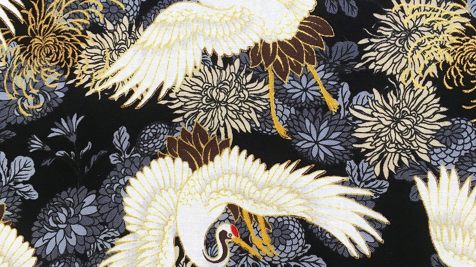 Cranes and Chrysthanthemum fabric (black)