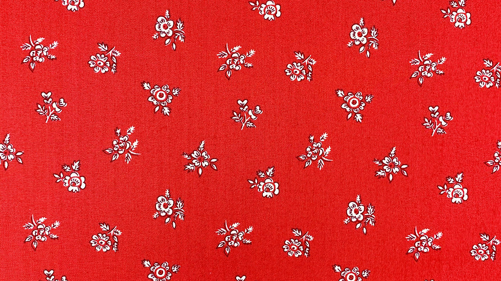 Abbeywood fabric (Winter) red & blue