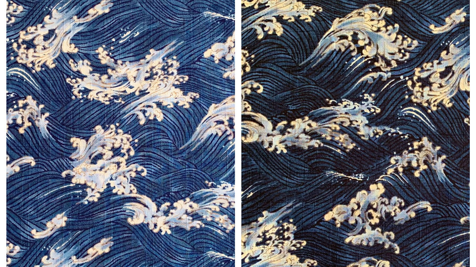 Waves fabric (mid and dark blue)