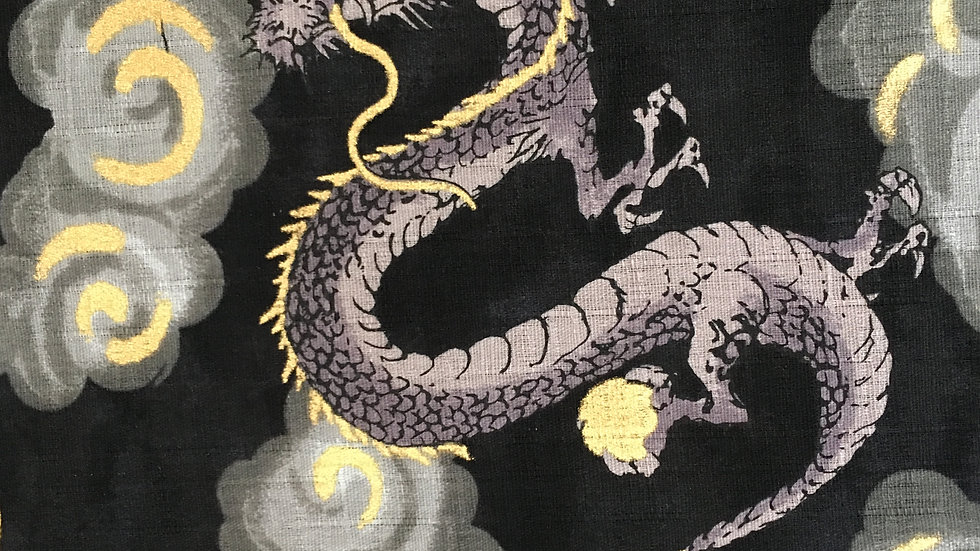 Japanese Dragons fabric (black clouds)