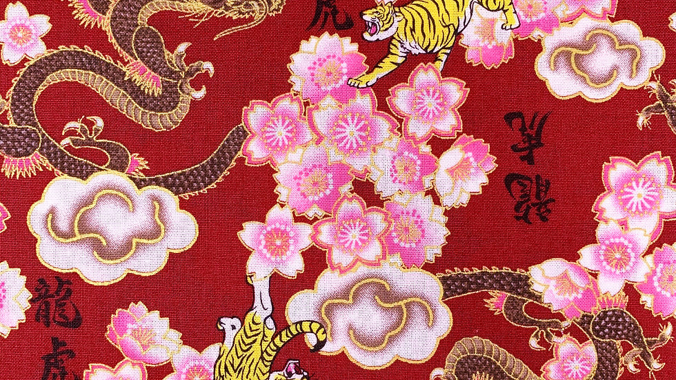 Dragons and Tigers fabric (red)