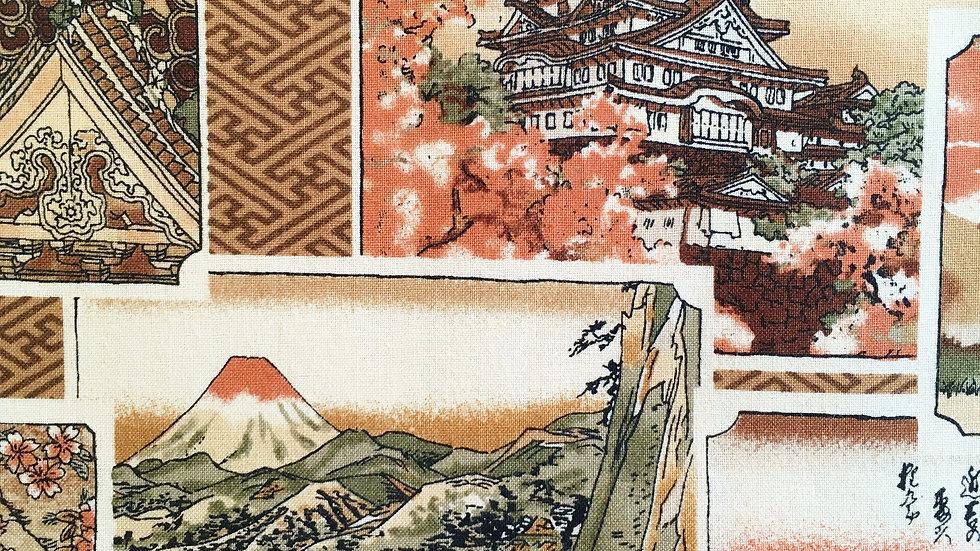 Japanese Vintage Scenes fabric