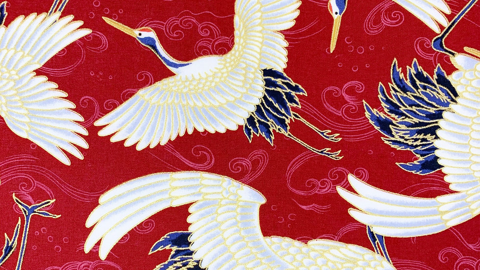 Cranes and Waves fabric (red)