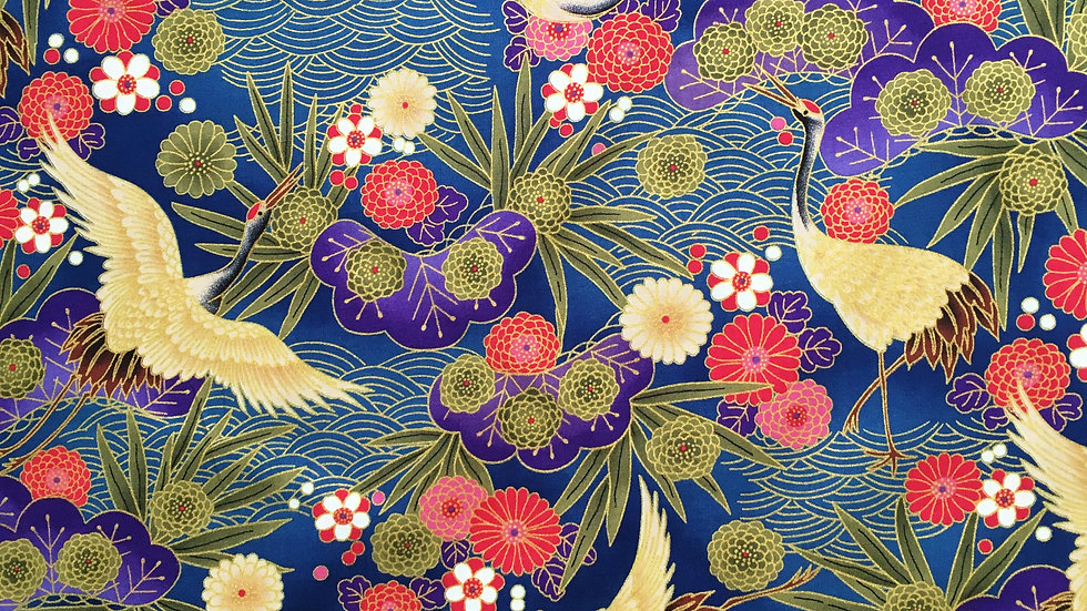 Japanese Cranes fabric - blue