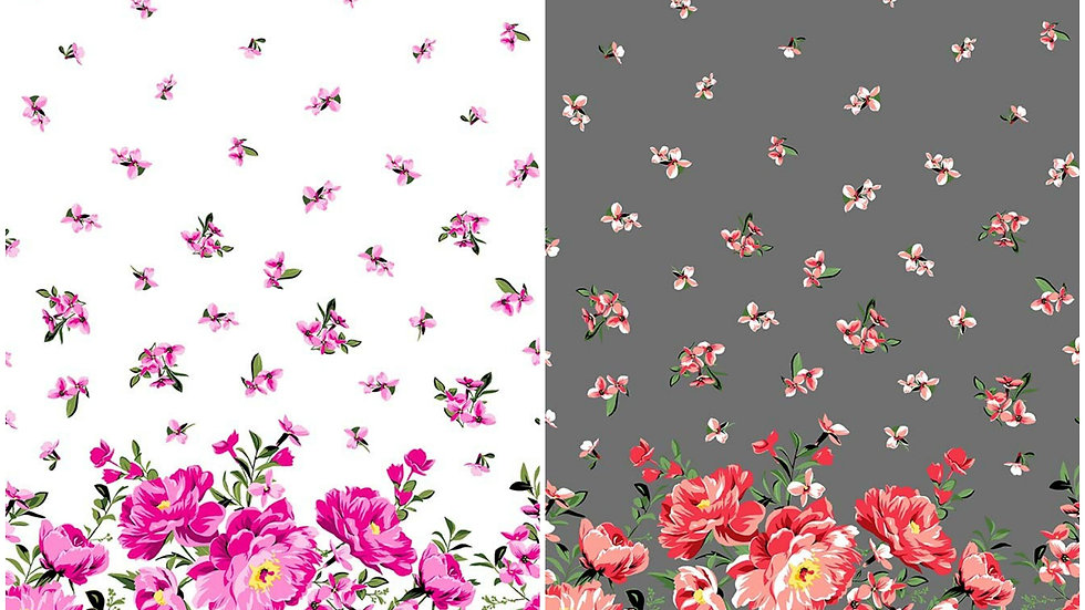 Cabbage Rose Border fabric