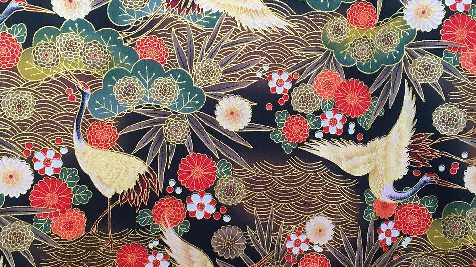 Japanese Cranes fabric - black