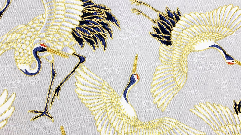 Cranes and Waves fabric (oyster)