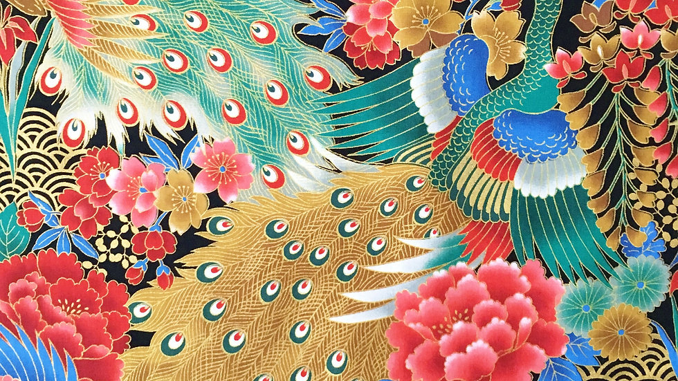 Japanese Peacocks fabric - teal/green