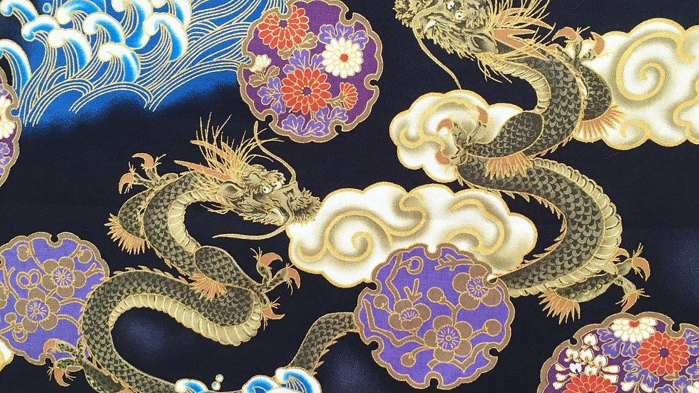 Japanese Dragons fabric (black)