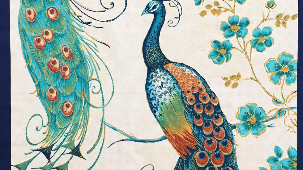 Peacocks fabric panel