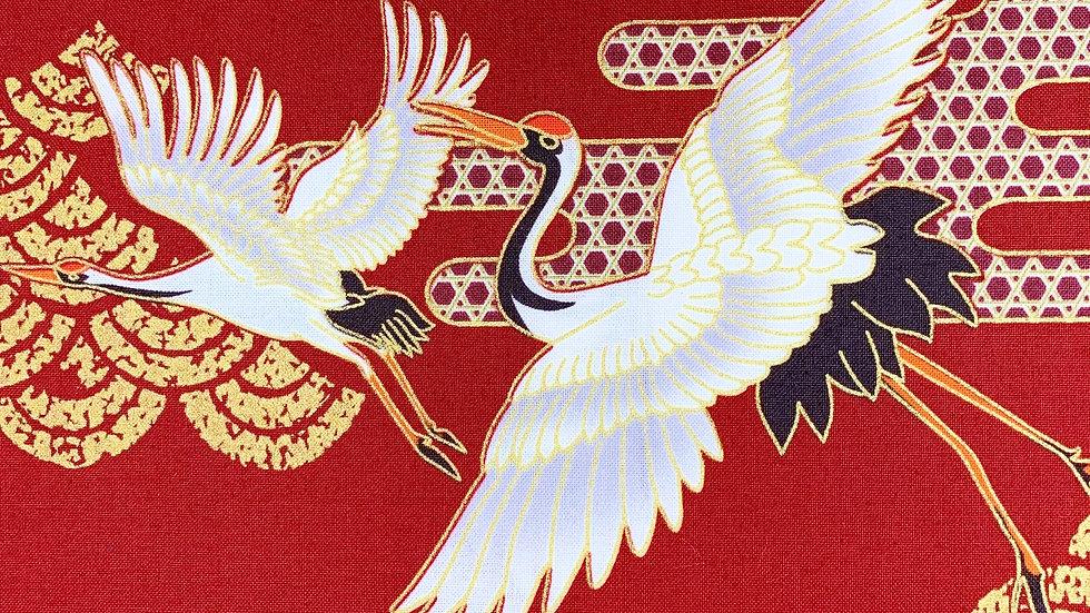Japanese Cranes fabric (red)