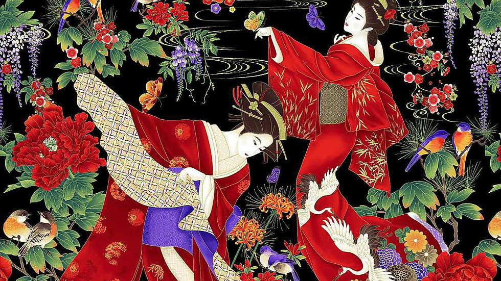 Geishas fabric panel