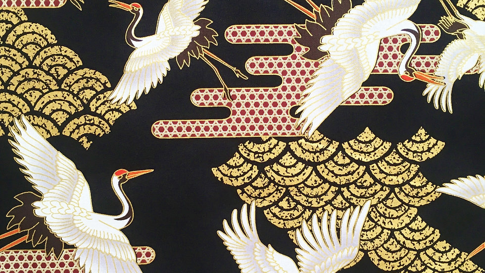 Japanese Cranes fabric (black)