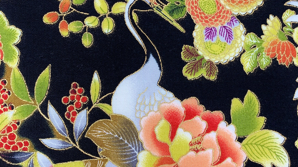 Cranes and Fans fabric