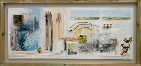Bird of Passage    (sold)    mixed media on canvas  135cm x 66cm   collage, photographic transfer, ink drawing, acrylic paint, collected objects.   Drawing attention to the fine details of our landscape showing collected objects as relics that have survived the passage of time.