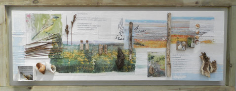 Relics II   (sold)  mixed media on canvas  135cm x 53cm   collage, photographs, found natural objects collected from the coastline.