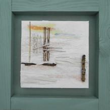 'Green Beach II'  mixed media on canvas 35cm x 35cm
