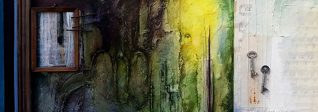 Under the Glow and Laughing  mixed media on canvas 80cm x 30cm