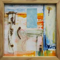Sun Giant  mixed media on paper  45cm x 45cm  Fragments are assembled in remembrance of time and place, drawing attention to the detail of the coastal environment.