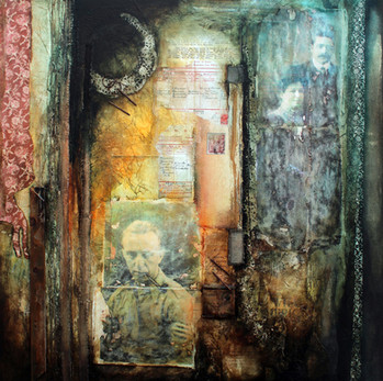 Letter to Mrs Tille  mixed media on canvas 90cm x 90cm