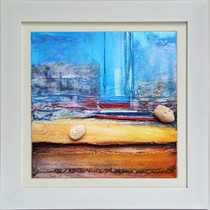 Mithymna  mixed media on canvas 34cm x 34cm  Capturing the tranquillity of a location.  Inspired by recollections of a familiar place, and the brilliance of light on the harbour and the surrounding landscape.