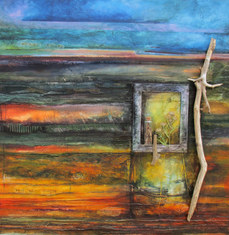Veil of Purple   mixed media on canvas 90cm x 90cm  collage, photographs, wooden frame, glass bottle, found natural objects collected from the coastline.   Observation of the distinctive and dramatic qualities of late autumn; impressive skies with intensity of colour.