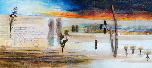 The Light Is Your Own    (sold)  mixed media on canvas 120cm x 50cm    collage, photograph transfers, acrylic paint, text, found detritus from Sefton coastline   'The Light is Your Own' intends to reflect the distinctive and dramatic qualities viewed during the late autumn months; impressive and vivid skies with intensity of colour – streaks of deep crimson, tangerine and gold; marshes and dunes where the surging tides have left behind a brisk and raw terrain.