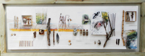Relics 1   mixed media on canvas 135cm x 53cm   collage , photographic transfer, glass bottles, acrylic paint, collected natural detritus.