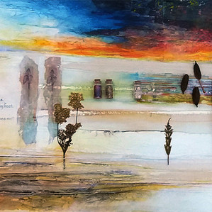 During her solo exhibition in 2019, at The Atkinson Gallery and Museum, Sharon was offered a commission from Mersey Care NHS to create two artworks to be installed in the newly built hospital for mental health in Southport. Hartley Hospital combines local mental health inpatient care and related community services.   'The Light Is Your Own'  This mixed media piece intends to reflect the distinctive and dramatic qualities viewed during the late autumn months; impressive and vivid skies with intensity of colour – streaks of deep crimson, tangerine and gold; marshes and dunes where the surging tides have left behind a brisk and raw terrain.